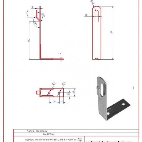 01a. Angular roof-mounted bracket H-130mm. ZZ