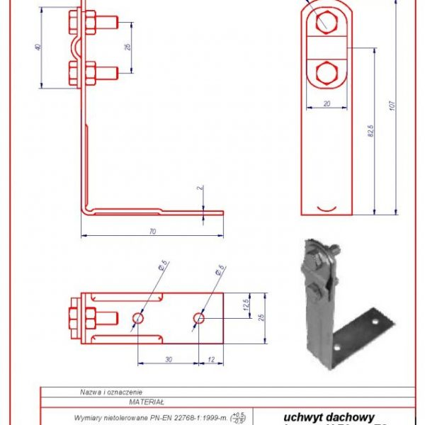 01b. Angular roof-mounted bracket H-70mm. ZS