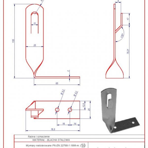 01h. Angular roof-mounted bracket H-70mm. ZZ Twisted
