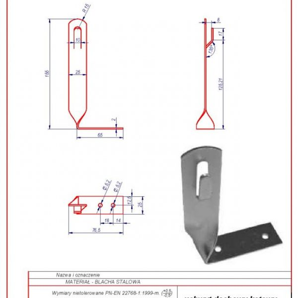 01i. Angular roof-mounted bracket H-130mm. ZZ Twisted