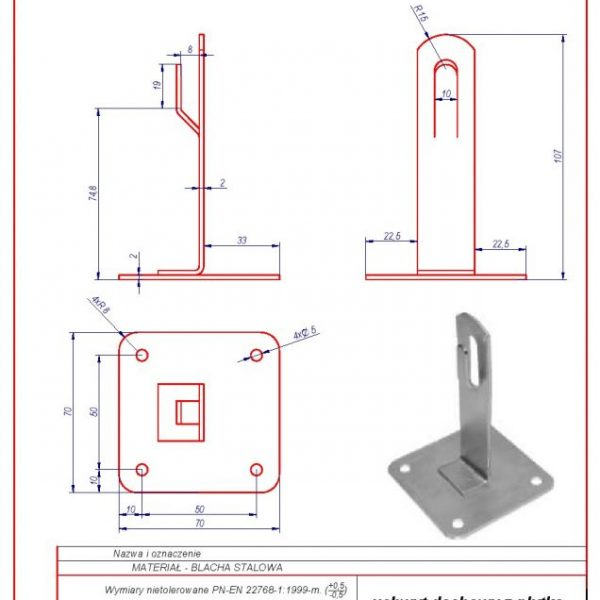 02. Roof-mounted bracket with a plate H-70 mm. ZZ