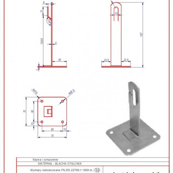 02a. Roof-mounted bracket with a plate H-130 mm. ZZ