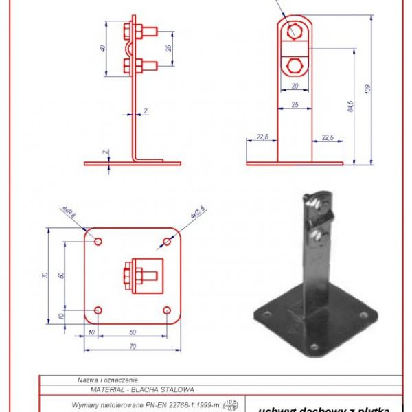 02d. Roof-mounted bracket with a plate H-70mm. ZS