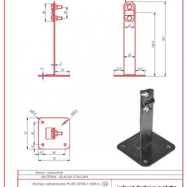 02e. Roof-mounted bracket with a plate H-130mm. ZS