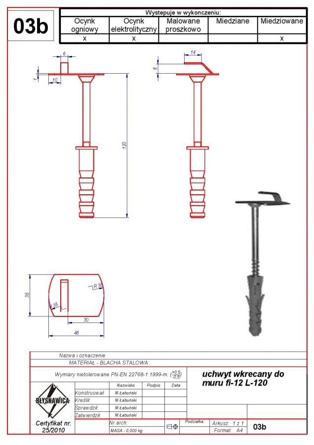 03b. Wall holder (screw in) f 12 L-120