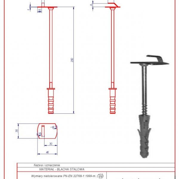 03e. Wall holder (screw in) f 12 L-250