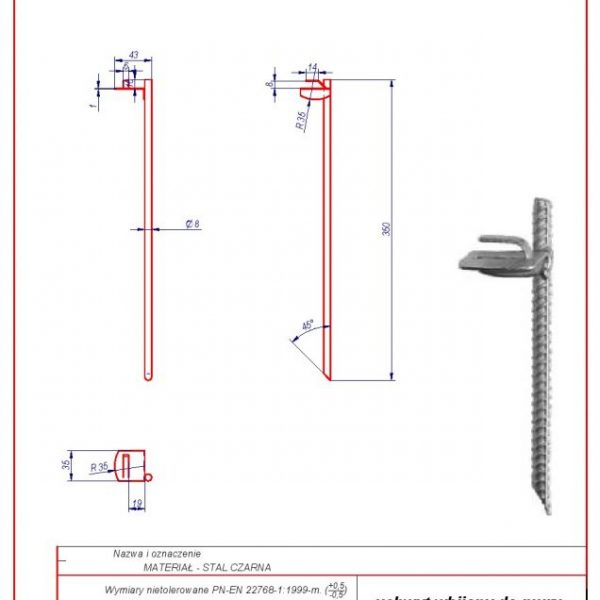 04a. Wall holder L -350