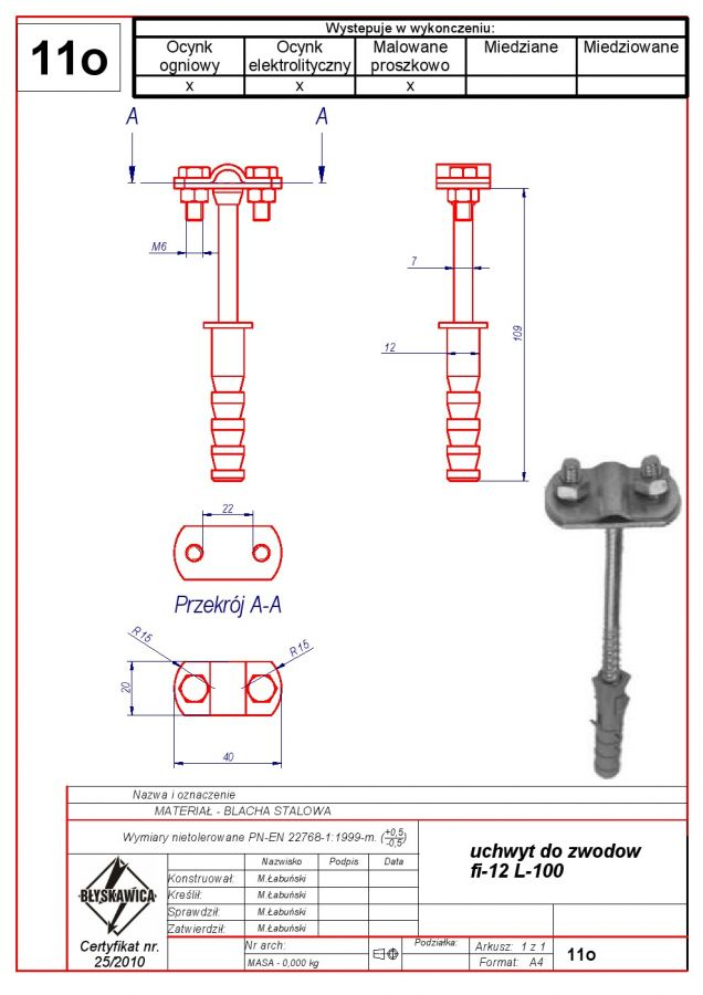 11o. AIR TERMINAL-MOUNTED BRACKET f 12 L -100