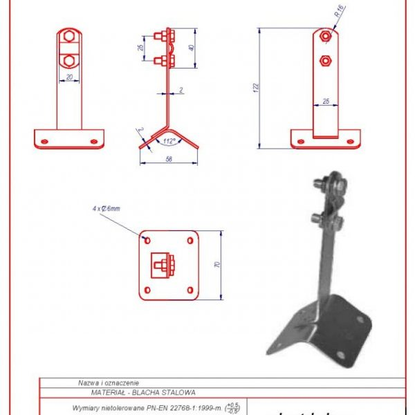 17a. Rooftop – mounted bracket -70mm. ZS