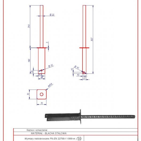 22e. Straight tension bracket