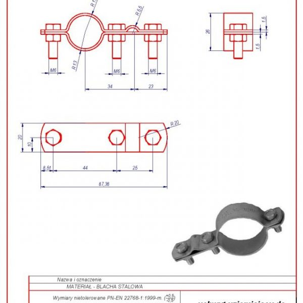 41. Grounding bracket for installation pipes 3/4″