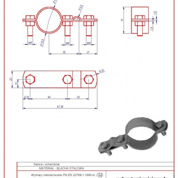 42. Grounding bracket for installation pipes 1″