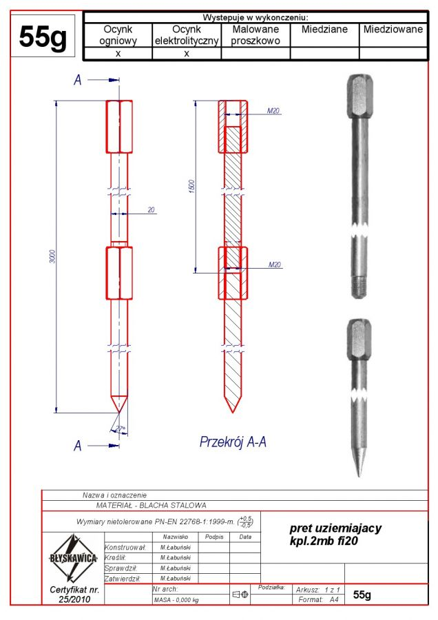 55g. Grounding rod kpl.-3mb f 20 oc