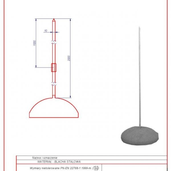 61c. Lightning mast (average concrete base) 2m