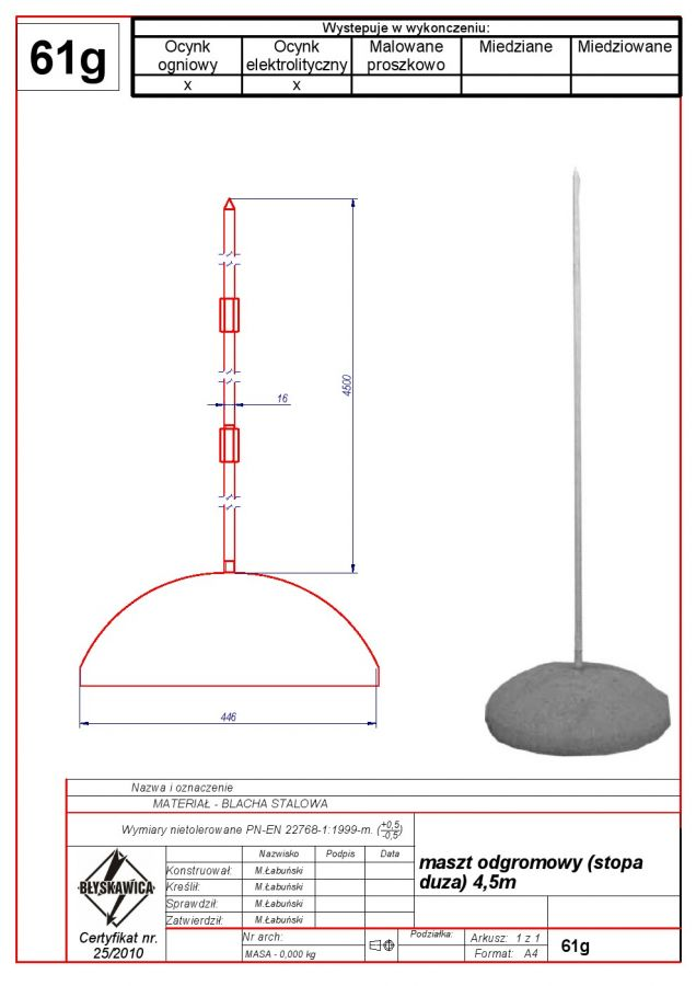 61g. Lightning mast (big concrete base) 4,5m